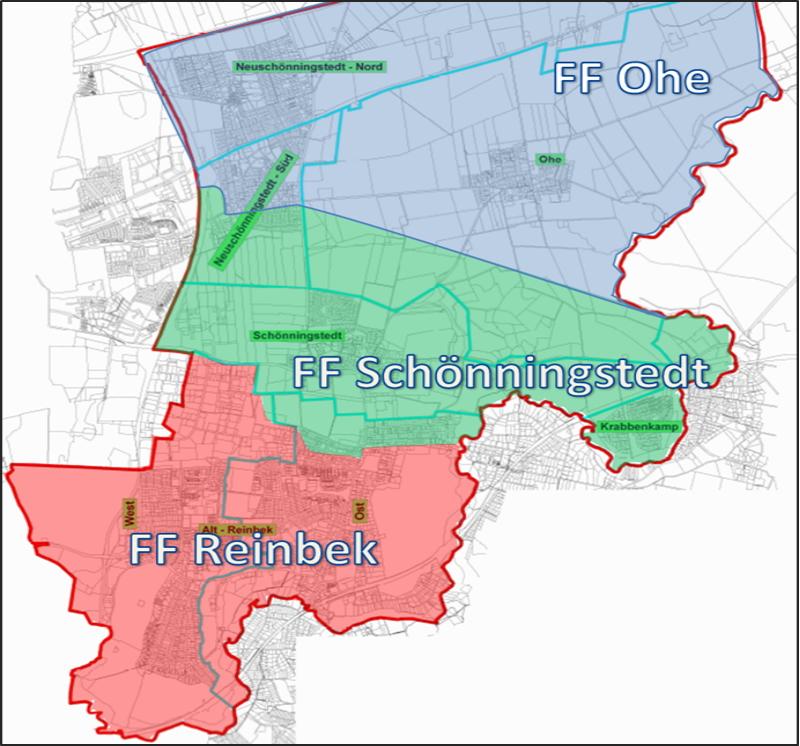 Einsatzgebiet der Freiwilligen Feuerwehr Schönningstedt